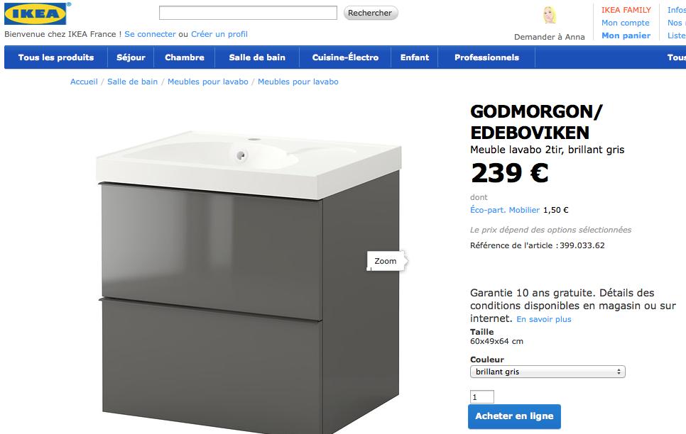 Un exemple avec Ikea : cohérence visuelle entre le logo, le webdesign et le bouton d'achat…