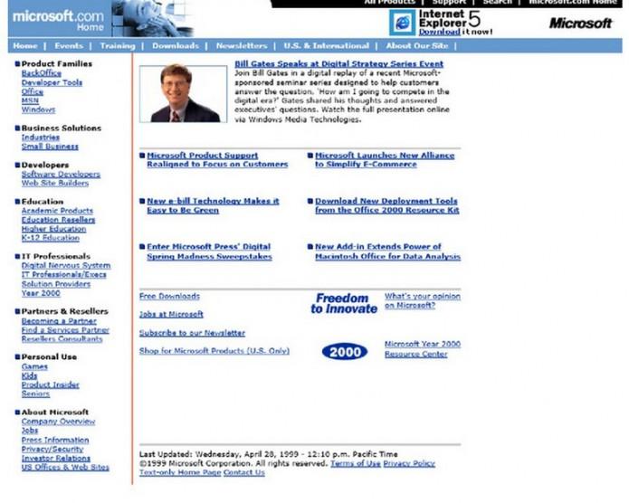 Homepage Microsoft.com 1999