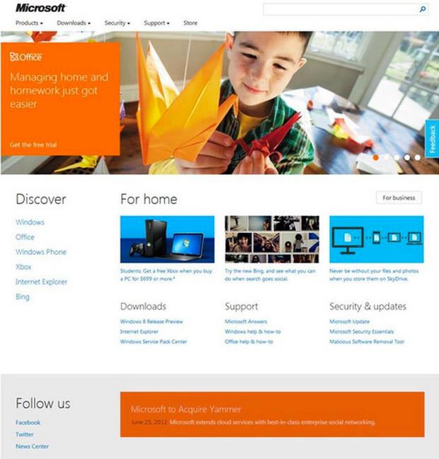Homepage Microsoft.com 2012