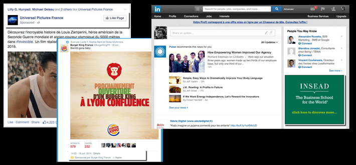 social media optimization exemples Facebook Twitter LinkedIn