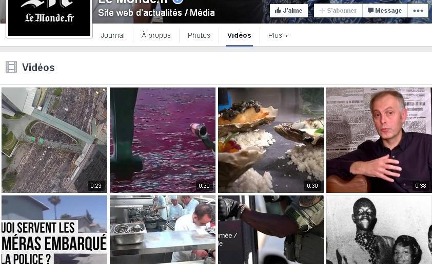 Onglet vidéos sur les pages Facebook