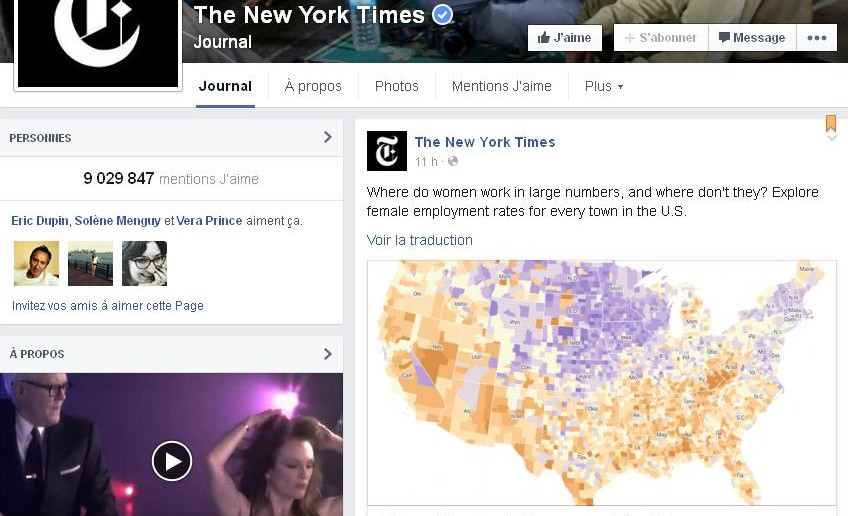 Vidéo mise en avant dans le journal des pages Facebook