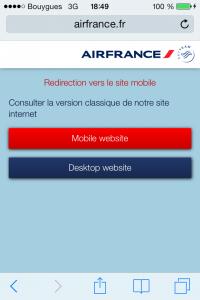 ecran d'accueil airfrance.fr mobile