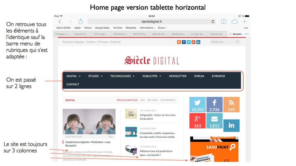 Home page Siècle Digital version tablette