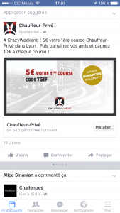 Facebook ads objectif installation application
