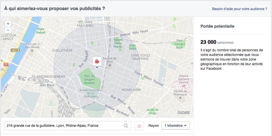 Facebook ads promouvoir au niveau local