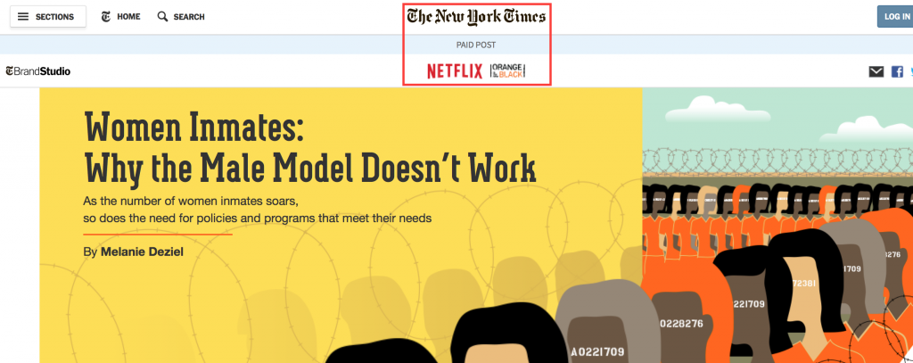 Native advertising New York Times & Netflix & Orange is the new black