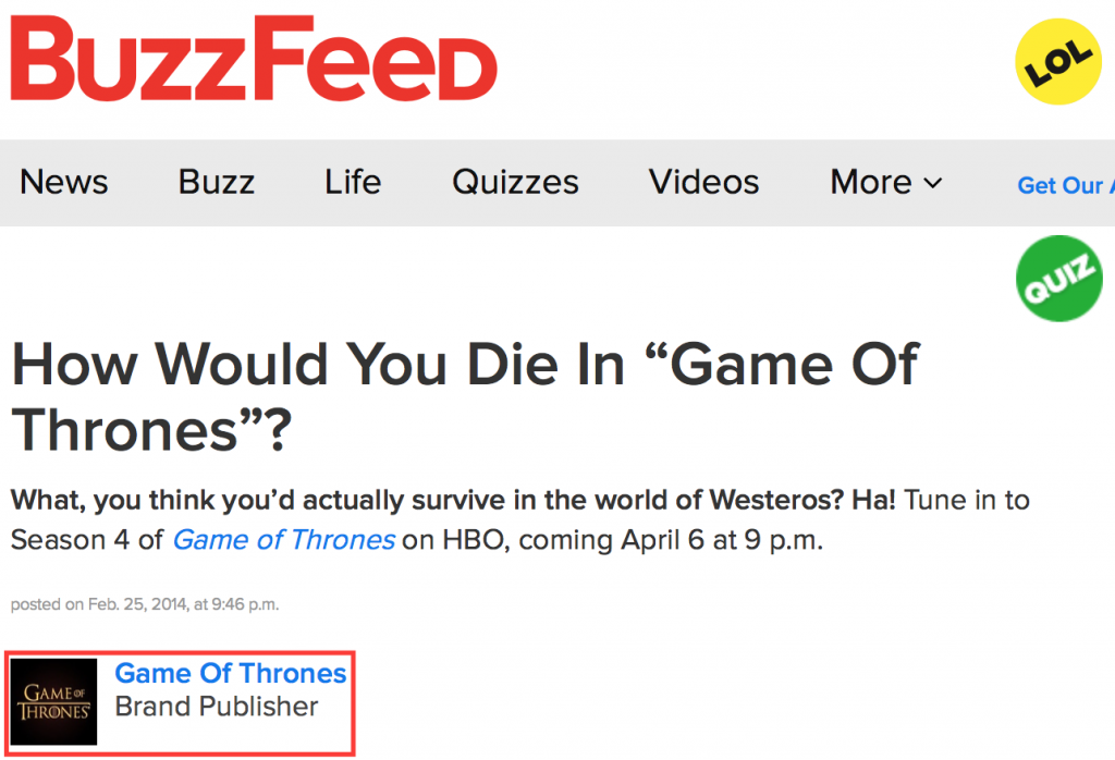 Native advertising Buzzfeed & Games of Thrones