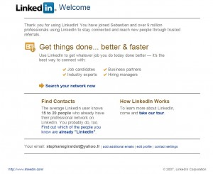 Quasiment vintage, le mail reçu de LinkedIn en 2007