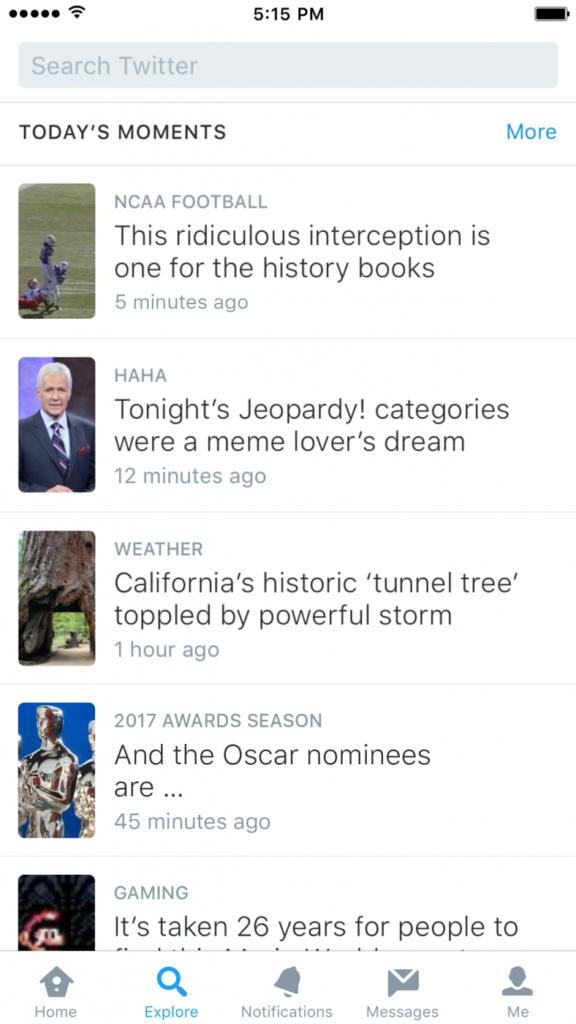Twitter onglet explorer