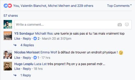 design actuel des commentaires Facebook