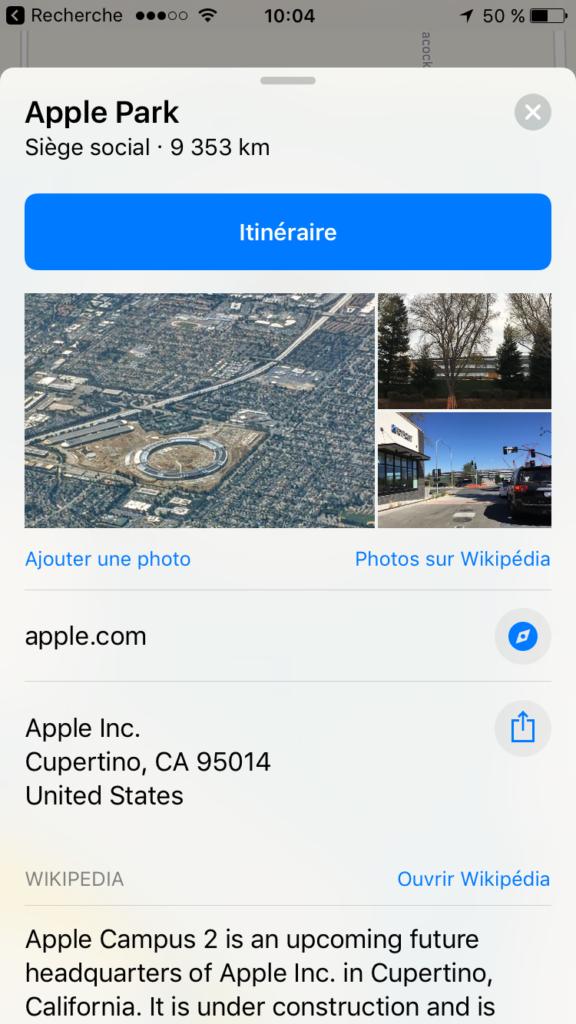 Apple Park sur l'application Plans avec photos