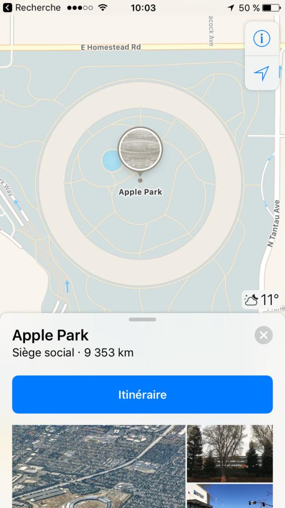 Apple Park sur l'application Plans