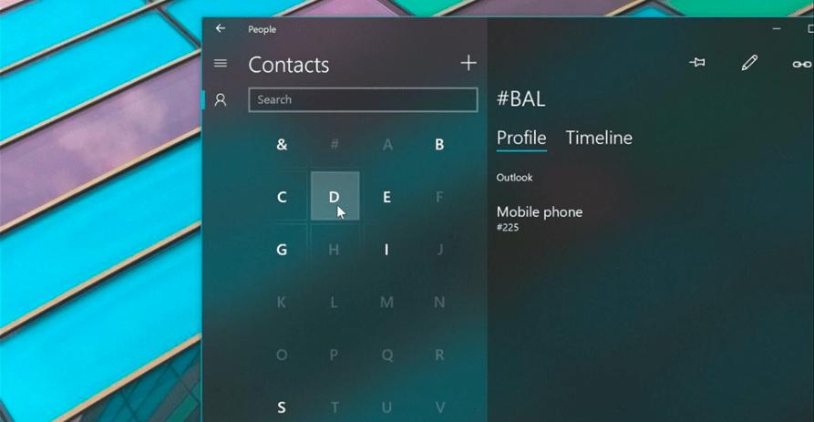 Contacts Fluent Design Microsoft