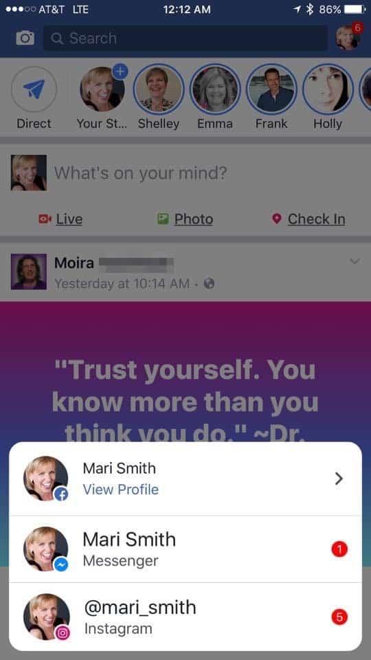 Facebook Instagram notifications