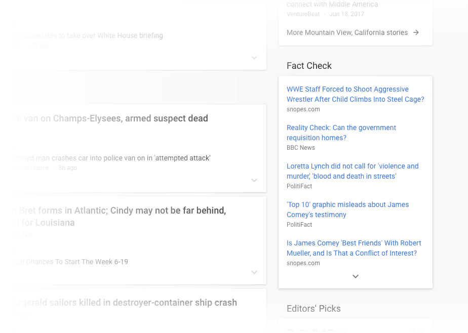 Google News Fact Check Interface