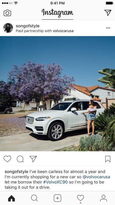 Branded content de Volvo sur Instagram
