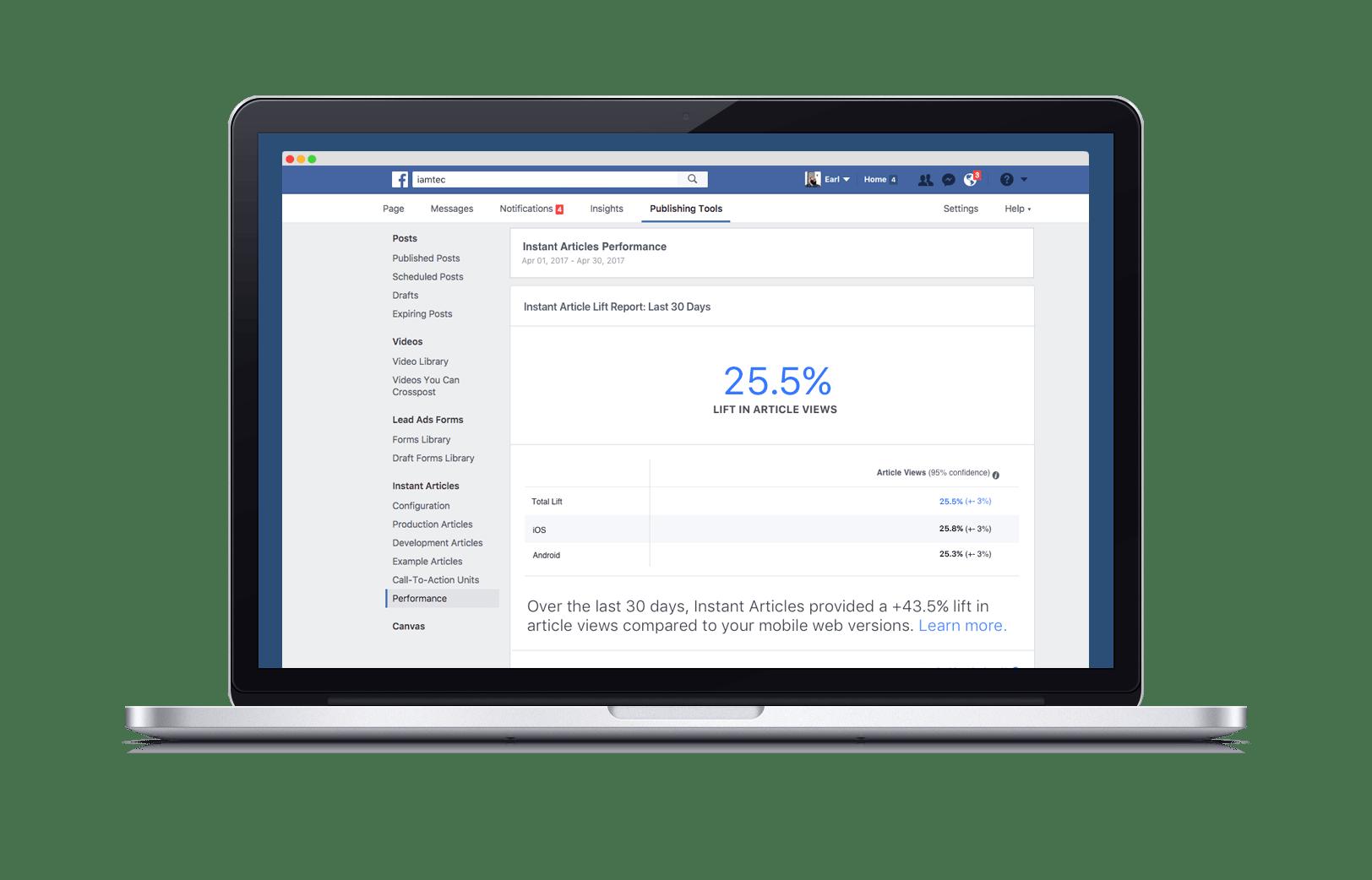 Instant Articles de Facebook avec son dashboard Analytics