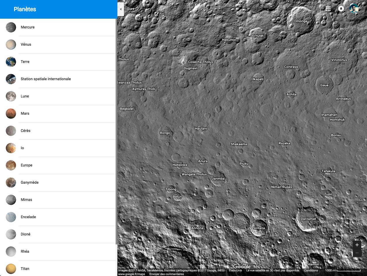 google maps : carte de l'espace