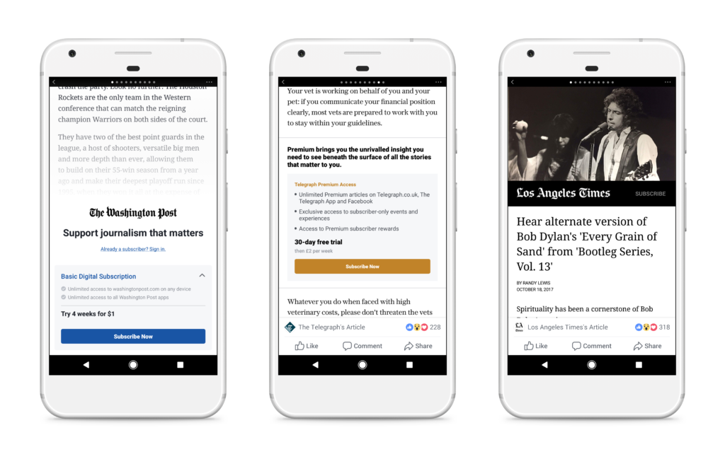 Facebook paywall instant articles