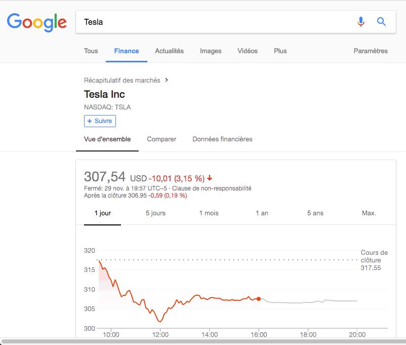 google finance sur le moteur de recherche