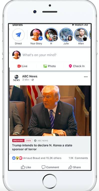 fonctionnalité breaking news de Facebook pour les éditeurs