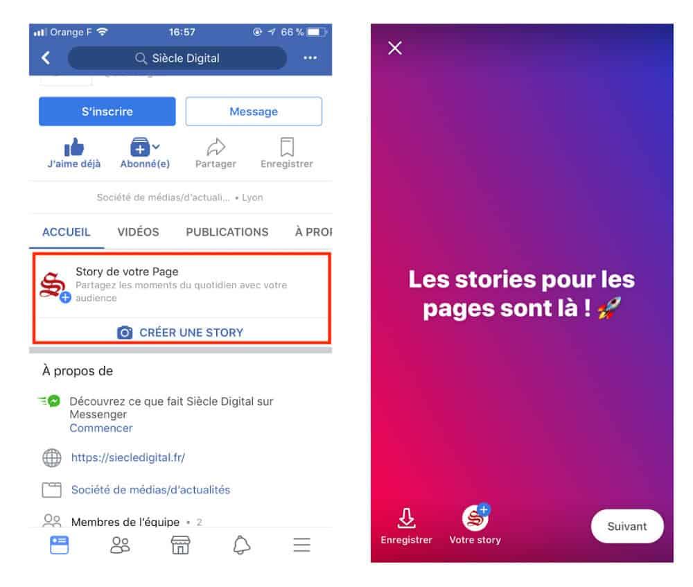 Partage Facebook Stories page