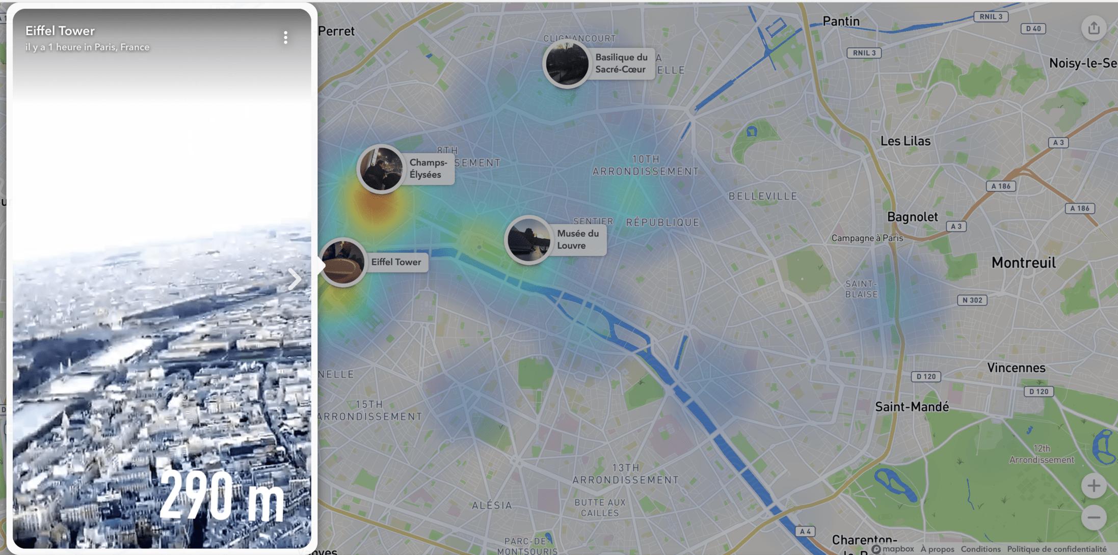 Aperçu de la Snap Map sur le Web.