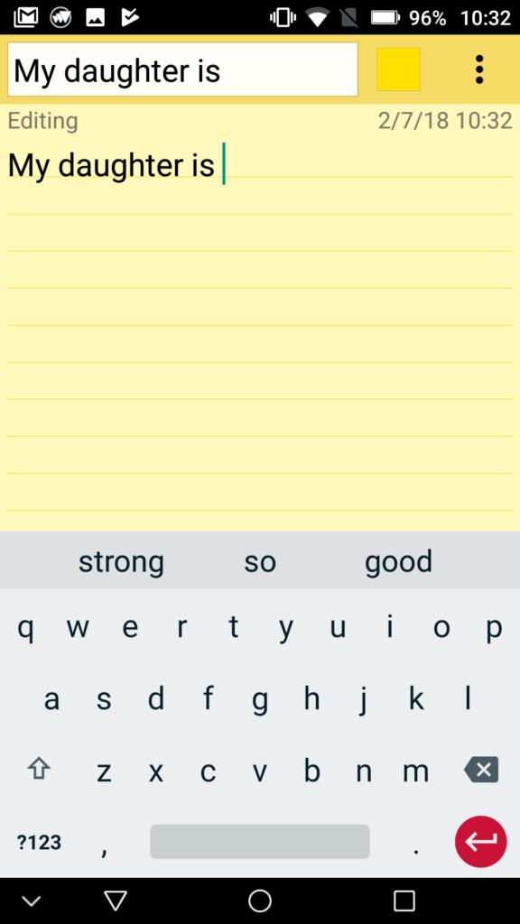 """Capture d'écran du clavier sheboard avec le début de phrase """"ma fille est.."""""""