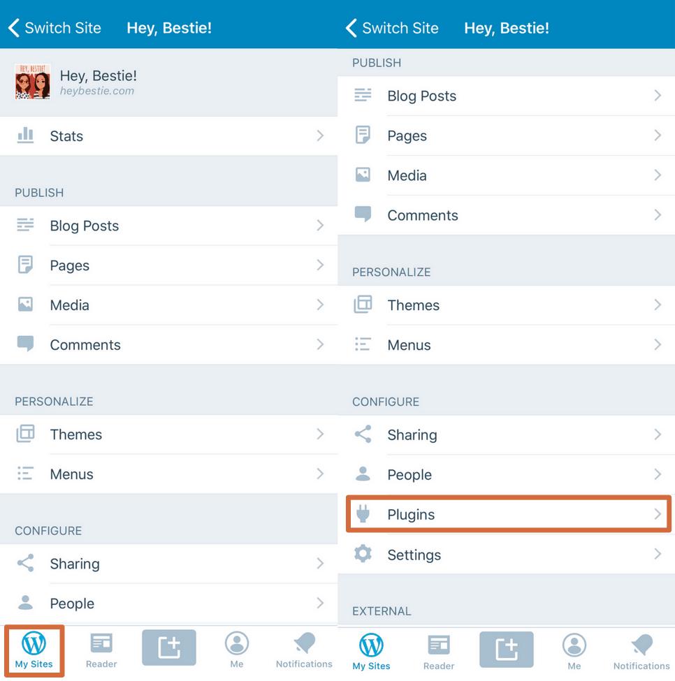 Gérer les plugins d'un site directement via l'application WordPress.