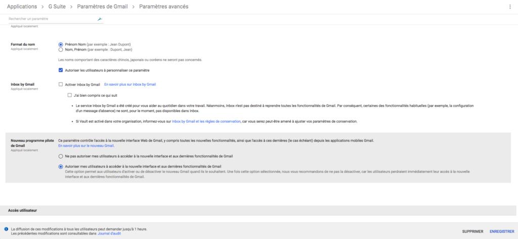 Activer nouveau Gmail G Suite