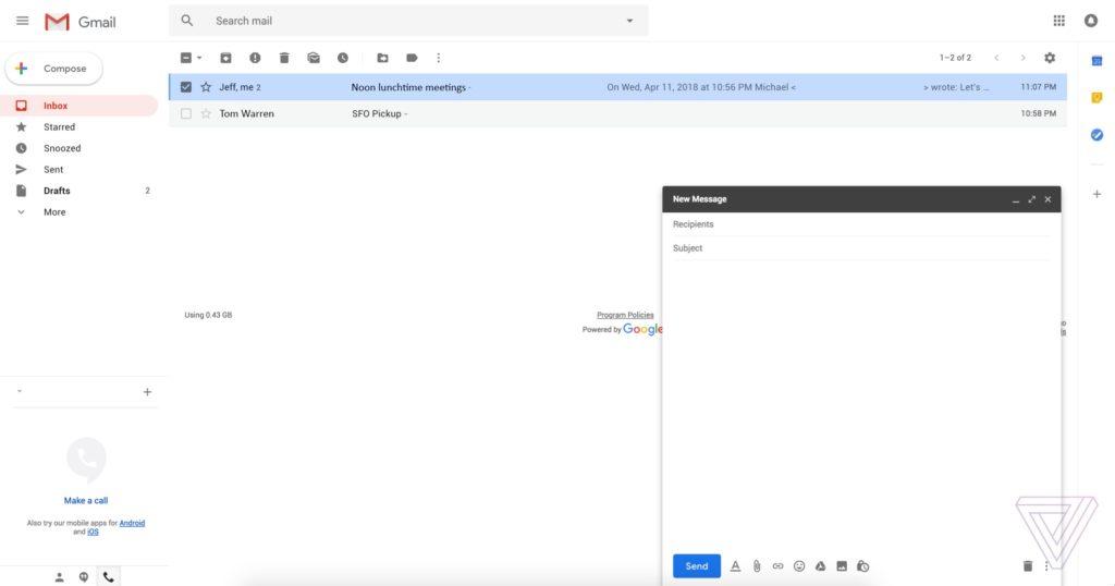 Nouveau design Gmail