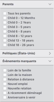 ciblage Facebook avec les données démographiques comme la parentalité