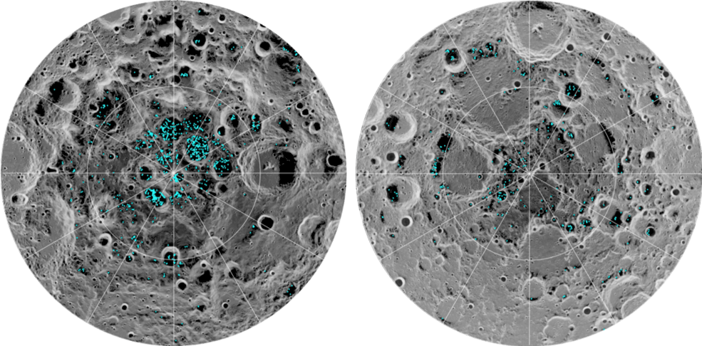 découverte glace Lune pôles par la NASA