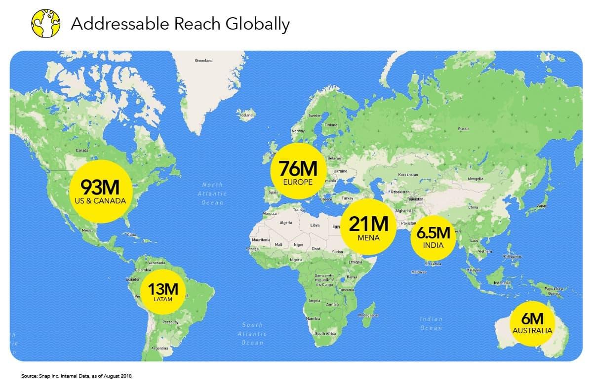 Snapchat : découvrez la portée potentielle des publicités dans le monde