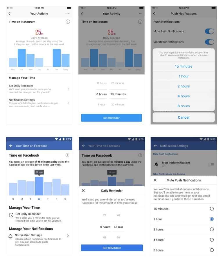 Il est désormais possible de connaître le temps passé sur Facebook et Instagram