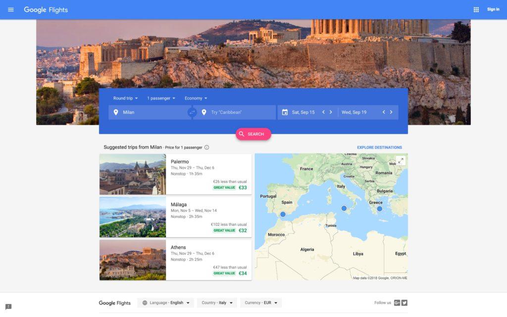 Capture d'écran de Google Flights 2.0