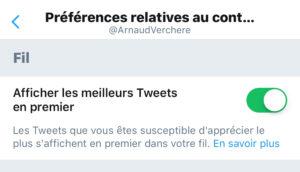 twitter préférence de compte pour désactiver l'affichage de la sélection de tweets de l'algorithme