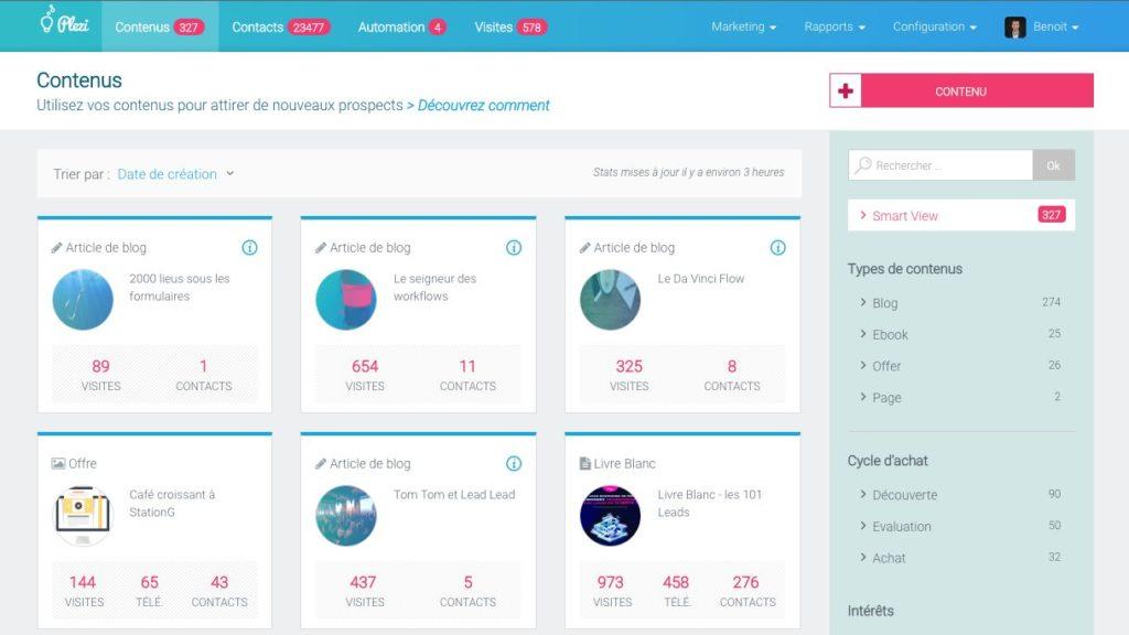 Capture d'écran de l'organisation des contenus sur Plezi.