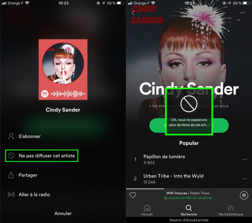Spotify lance sa fonctionnalité pour bloquer les artistes que nous ne souhaitez pas écouter