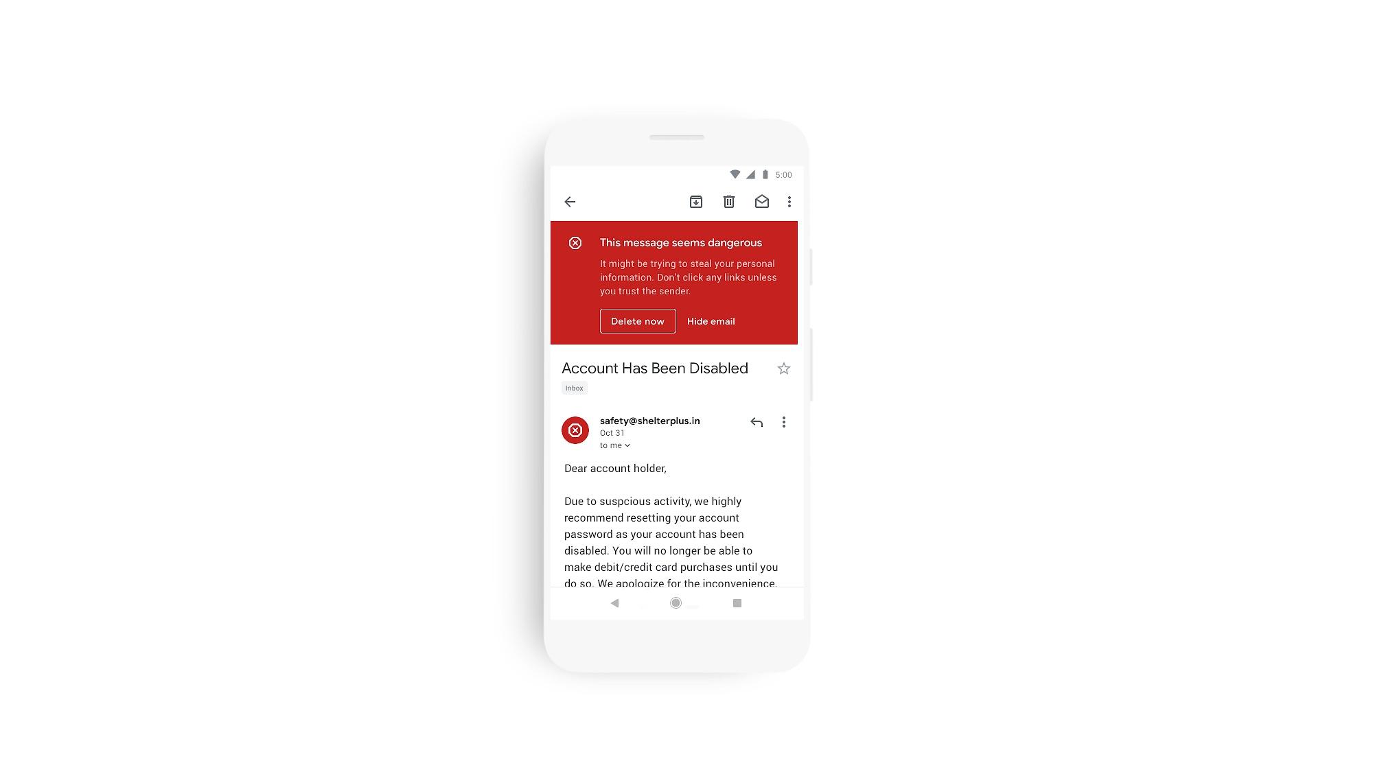 photo montrant la signalisation d'une tentative d'hameçonnage sur l'application Gmail