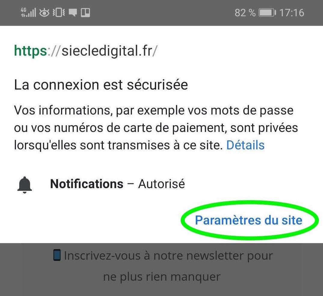 Comment désactiver les notifications Google Chrome sur Androïd partie 8