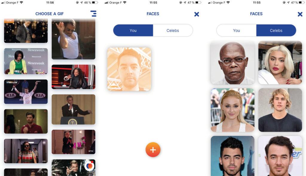 Captures d'écran de l'application Morphin.