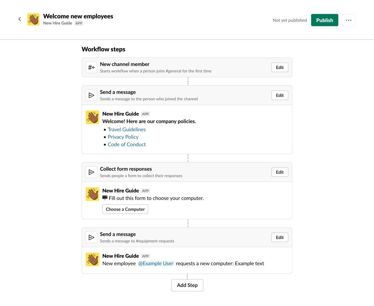 Exemple d'intégration du Workflow Builder dans l'application.