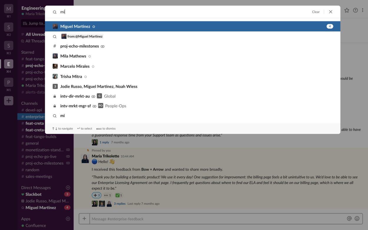 Unification de la navigation et de la recherche sur Slack. Crédit : Slack.