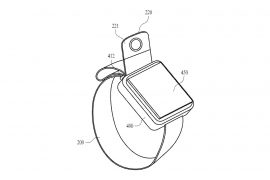 Une Apple Watch avec une caméra réglable.