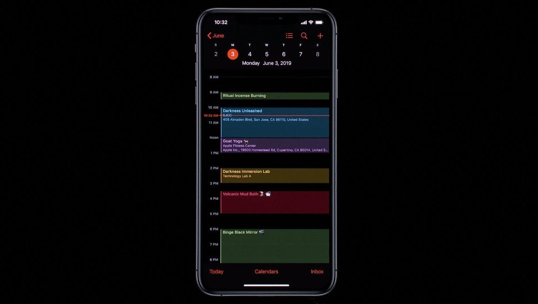 Le dark mode sur iOS 13 présenté à la WWDC 2019 par Apple.