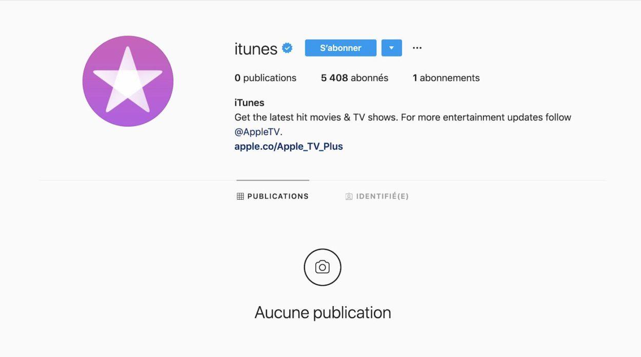 compte instagram vide iTunes