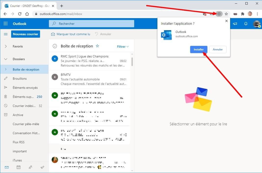 Capture écran nouvelle configuration Outlook