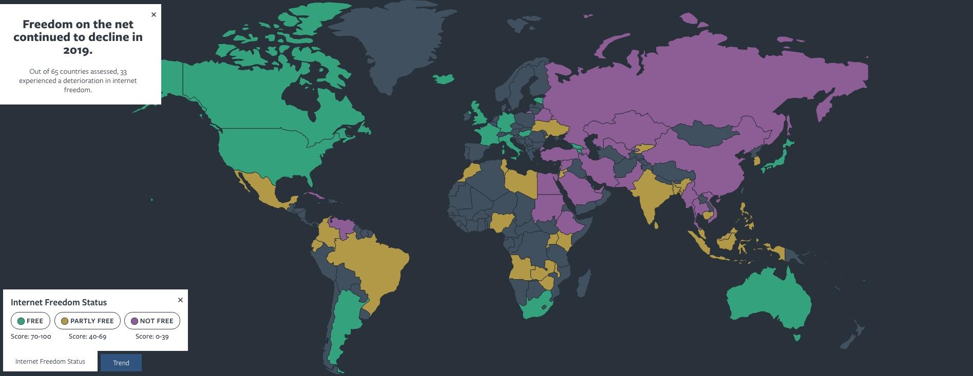 Carte géographique représentant les pays où l'accès à Internet est considéré comme étant libre